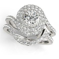 Engagement Ring -Triple Halo Swirl Diamond Engagement Ring and... ($2,635) ❤ liked on Polyvore featuring jewelry, rings, triple band ring, band engagement rings, swirl engagement rings, diamond swirl ring and round engagement rings
