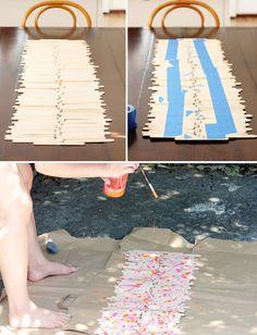 Caminho de mesa com palitos de picolé - DIY