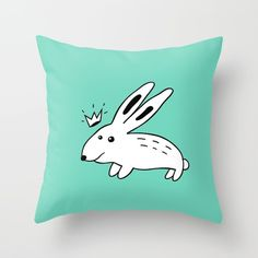"""Throw Pillow """"Rabbit with Crown"""" by Elena Lourie. Worldwide shipping available at Society6.com.   #pillow #throwpillow #home #homedecor #homeideas #interior #surfacedesign #textile #textiledesign #girlsroom #kidsroom #print #gift #giftideas #kids #giftforgirls #cockatoo #mint #fundesign #elenalourie  #society6 #shopping #shop #sale #forsale #promo #cutedesign"""
