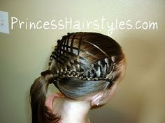 The hairstyles on this site are quite something. There are video tutorials too. This is a Woven French Braid Ponytail. It looks beautiful from the top. Just gorgeous.