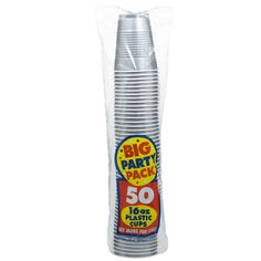 Silver Big Party Pack 16 oz. Plastic Cups from BirthdayExpress.com