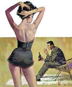 "Robert McGinnis pinup, cover art for the book ""The Computer Kill,"" by Raymond Banks Robert Mcginnis, Art Pulp, Pulp Fiction Art, Vladimir Volegov, Serpieri, Whatsapp Wallpaper, Fabian Perez, Pulp Magazine, Vintage Romance"