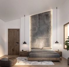 60 Ideas For Bedroom Interior Design Rustic Modern Master Bedroom, Modern Bedroom Design, Master Bedroom Design, Home Decor Bedroom, Bedroom Ideas, Modern Bedrooms, Bedroom Ceiling, Bedroom Bed, Modern Bedroom Lighting