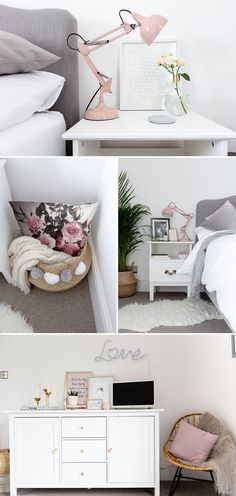 Grey white & blush bedroom Blush grey and white bedroom with faux sheepskin rattan rocker chair gold accents and upholstered bed from Loaf. Image by Little Beanies The post Grey white & blush bedroom appeared first on Schlafzimmer ideen. Blush Bedroom, Gray Bedroom, Trendy Bedroom, Bedroom Inspo, Bedroom Ideas, Pastel Bedroom, Bedroom Simple, Bedroom Designs, Bedroom Bed