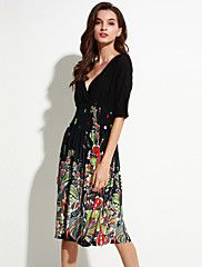 SWEET+CURVE+Women's+Beach+/+Plus+Size+Boho+Chiffon+Dress,Floral+V+Neck+Knee-length+½+Length+Sleeve+Black+Polyester+/+Spandex+Summer+–+EUR+€+19.75