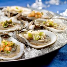 Louisiana oysters on the half shell with trio of mignonette sauces (recipe via Gulf Coast Seafood) LORD I could go for a dozen of these Sauce Recipes, Fish Recipes, Seafood Recipes, Appetizer Recipes, Seafood Meals, Appetizers, Cajun Recipes, Healthy Recipes, Louisiana Seafood