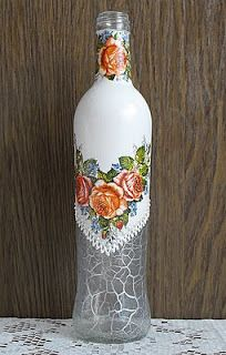 Decoupage U Edyty . Wine Bottle Corks, Glass Bottle Crafts, Diy Bottle, Decoupage Glass, Decoupage Art, Bottles And Jars, Glass Bottles, Shabby, Altered Bottles