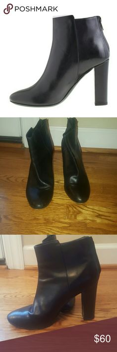 "J.Crew black  leather 4"" Rory ankle boots 8 Hot J.Crew black real leather Rory ankle boots. Size 8  excellent condition!!! The bottoms show some wear but the upper body and inside is excellent. I do not have the box for these. Bundle and save!!! J. Crew Shoes Ankle Boots & Booties"