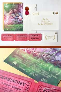 """Your engagement is an award-winning masterpiece with the Premiere movie poster wedding invitation! This cinema-inspired suite features a poster backed in shimmering gold paper inside a 7×10″ top open envelope that's embellished with an academy-styled seal. Event details pop on a fun, laser cut tear-and-mail RSVP """"ticket"""" for the premiere of the greatest love story: Your wedding day!"""