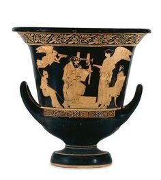 Cratère en calice. Scène de remise de prix d'un concours de musique. Vers 475-425 av J.-C. Auteur : Peintre d'Altamura (5e siècle av J.-C.) Lieu de découverte : La Pouille (origine). Royaume-Uni, Londres, British Museum