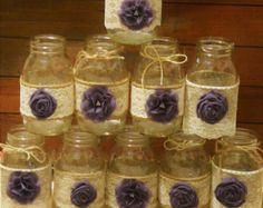 12 Mason Jar Sleeves Wedding Centerpieces di RusticWithElegance