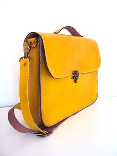 Handmade Laptop Bag Yellow Leather Briefcase Messenger by ammaciyo