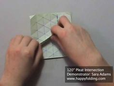 This video demonstrates how to fold a 120 degree pleat intersection. It is performed when pleats on a triangle grid intersect, and thus several layers of pap. Origami Paper Folding, 3d Origami, Paper Art, Paper Crafts, Origami Videos, Kirigami, Quilling, Concept, Make It Yourself
