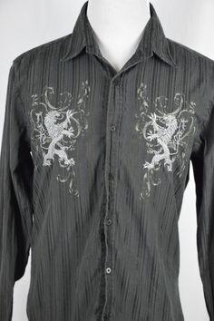 Level Ten Mens XL Black Long Sleeve Button Down Dress Shirt Scroll Striped Button Down Dress, Mens Xl, Dress Shirt, Button Downs, Long Sleeve, Sleeves, Cotton, Jackets, Shirts