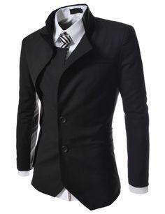 Doublju - Blazer Masculino com Design Assimetrico (BCSJK) Compre roupas de qualidade, com design inovador e preço justo!