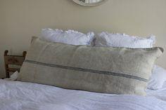 Vintage French Grain Sack Body Pillow Navy Stripes