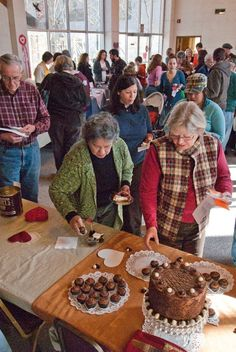 Following the judging, crowds fill the room to sample all the entries in the annual Bryson City, NC Chocolate Cook-off. The February event is a fundraiser for the Friends of the Marianna Black Library.