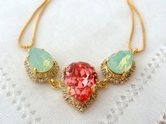 Peach coral and mint opal Swarovski crystal necklace