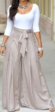 White Round Neck Fitted Top And Grey Loose High Waisted Palazzo Wide Leg Long Pant