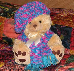 Medium sized 17 Very Soft Plush Honey Bear with Hand Knitted Fringed Scarf, matching Hand Crocheted Shorts matching Hand Crocheted Hat  multicolored as shown in pic. This cuddly bear with big feet wants a good home... He will melt your heart He ...