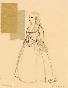 HAMILTON - Peggy Schuyler costume sketch - Costume Design by Paul Tazewell