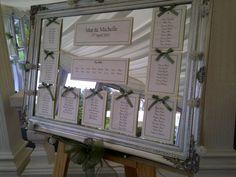 Framed mirror wedding table plan. wedding-seating-chart-ideas