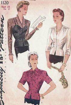 LOVELY 1940s  OVERBLOUSE PATTERN 3 VERSIONS DAY or EVENING SIMPLICITY 1120
