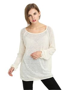 Miuk Women's 100% Flax Pullover Sweaters Crewneck Loose Fit Knitwear Thin Style Beige XS   Special Offer: $31.99      200 Reviews This is 2016 New shipment with better Sizing and new colors! Our sweater is the perfect combination of luxury and versatility. It's tightly spun into...