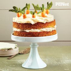 Welcome the warm weather with this melt-in-your-mouth cake. Little ones will love helping to make the thick cream cheese icing (and licking the beaters).
