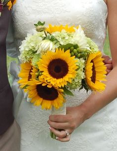 sunflower & hydrangea bridal bouquet -- this is so pretty, but it ...
