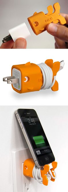 Goldie the orange goldfish // cable management for your iThing :) #product_design #emotional_design