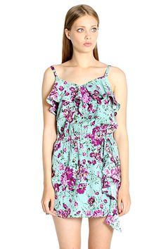 Welcome the lovely new Spring weather in this colorful strappy Sugarlips Sage In Ruffles Dress. Features a flounce of ruffles along the top and draped detail along the hips. Pair with nude colored sandals and toss your hair in romantic fishtail braids. #MyLuluCloset #Sugarlips #Storenvy #Sales #Dresses