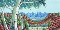 Hermannsburg Artists continue the watercolour tradition of Albert Namatjira, 75 years after the first exhibition, exquisite landscapes at Japingka Gallery Aboriginal History, Aboriginal Art, Online Art, Landscape Paintings, Pastel, Watercolor, Texture, Quilts, Ranges