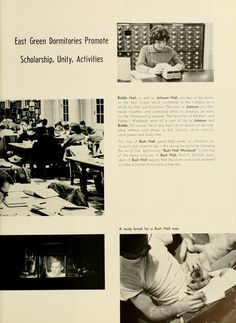 "Athena Yearbook, 1961. ""East Green Dormitories Promote Scholarship, Unity, Activities."" :: Ohio University Archive"