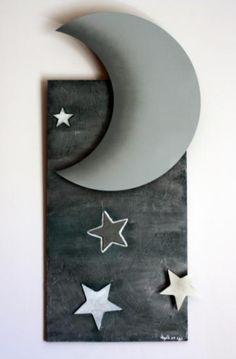 Cuadro luna y estrellas de acero inoxidable