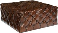 photo of large tufted leather english ottoman