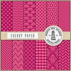Cherry Digital Paper Pack Scrapbook Paper by NorthSeaStudio