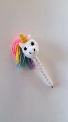 Crocheted Unicorn Pen Cozy - teacher gift - friend gift - unicorn amigurumi - crochet animal toy - f Crochet Wallet, Crochet Bookmarks, Crochet Gifts, Rainbow Loom, Pen Toppers, Crochet Baby Cardigan, Crochet Humor, Crochet Unicorn, Crochet Cross