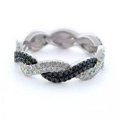 Black Diamond, Twist, Rope, Braided Lady's Diamond Ring