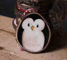 Penguin Wood Slice Ornament (Personalized)