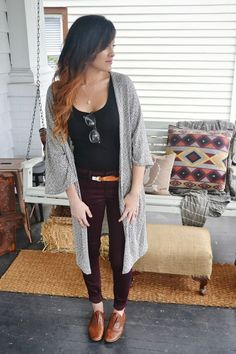 long gray card & some wine colored skinnies.