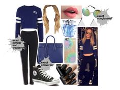 """perrie edwards steal her style"" by laurajessica ❤ liked on Polyvore featuring Yves Saint Laurent, Topshop, Converse, Revo, Jennifer Meyer Jewelry, Casetify, Thierry Mugler, black, Blue and converse"