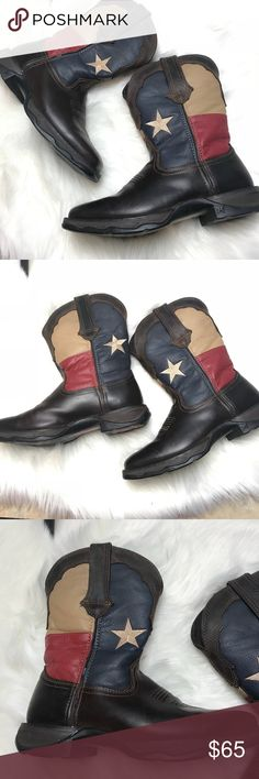 DURANGO (Lady Rebel) Western boots Steel Toe 7M Rebel by Durango Cowgirl Western Boots Steel Toe Design/ Square Toe Texas Flag Pull On  Size 7M This is a used item but still in good condition. Durango Shoes Winter & Rain Boots