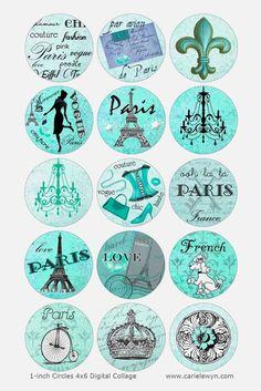 Krickente Paris Bottlecap Bilder / Französisch Pudel, Eiffelturm, Ansichtskarte…