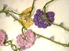 Oya Lace Necklace Belt Edging Crochet Purple Rose Gold with Beads.