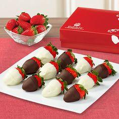 Edible Arrangements - White and Semisweet Chocolate Dipped Strawberries Box Chocolate Dipped Strawberries, Variety Of Fruits, Edible Arrangements, Easy Snacks, Sweet Tooth, Treats, Mothers, Teacher, Professor