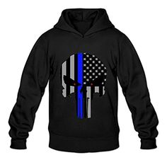 TWSY Men's Thin Blue Line The Punisher Logo Long Sleeve Hoodie Sweatshirt Size M Black,100% Cotton - Brought to you by Avarsha.com