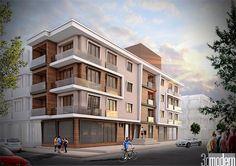 Gömülü resim Building Elevation, Building Exterior, Building Facade, Facade Design, Exterior Design, Residential Architecture, Architecture Design, Mix Use Building, Modern Properties
