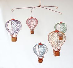 Copper Wire Hot Air Balloon Mobile