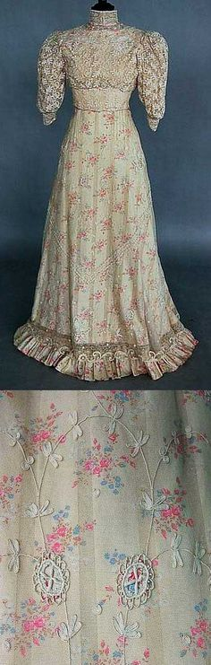 Looks like a dress Vivian Sinclair might have designed in THE BRIDE WORE BLUE.  Dress, ca. 1890s, rose-printed cotton with lace overlay.